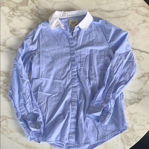 Forever 21 blue button down/white collar S